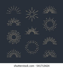 Set of Vintage Sunbursts in Different Shapes. Trendy Hand Drawn Retro Bursting Rays Design Elements on Dark Background. Hipster Vector illustration