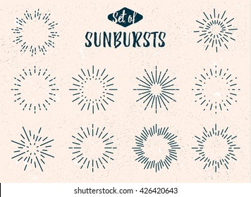 Set of vintage sunbursts for your project. Old light rays, stock vector