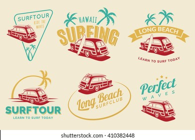Set of vintage surfing car labels, badges and emblems. Old school car with surfboard. Woodie car vector logo.