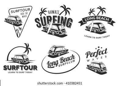 Set of vintage surfing car labels, badges and emblems isolated on white background. Old school car with surfboard. Woodie car vector logo.