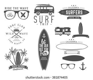 Set Of Vintage Surfing Graphics And Emblems For Web Design Or Print Surfer Logo Templates