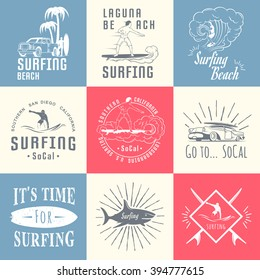 Set of vintage surfing graphics, emblems and badges. Surf collection retro sign and logos. Surf elements and labels.