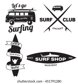 Set Of Vintage Surfing Graphics And Emblems For Web Design Or PrintBeach Style Logo