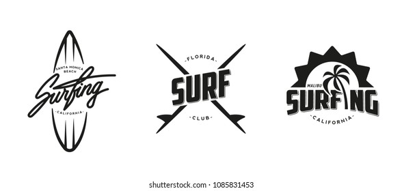 Set of vintage surfing graphics, logos, labels and emblems. Surf t-shirt design.