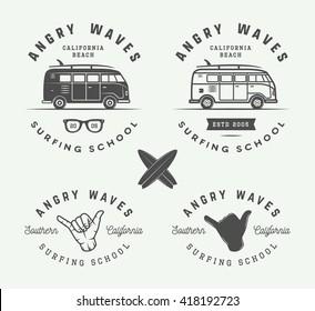 Set of vintage surfing logos, emblems, badges, labels and design elements. Graphic vector Illustration