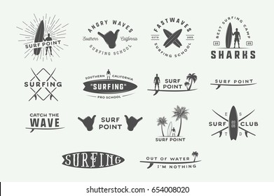 Set of vintage surfing logos, emblems, badges, labels and design elements. Graphic vector Illustration