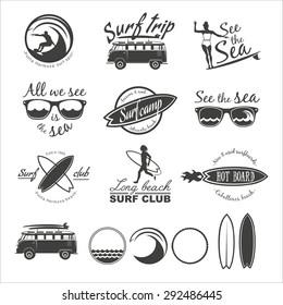 Set of vintage surfing logos, labels, badges and design elements.