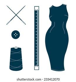 Set of vintage tailor design elements isolated on white background. Bespoke dress, ruler, needles, button, spool of thread. Design template for label, banner, badge, logo. Vector.