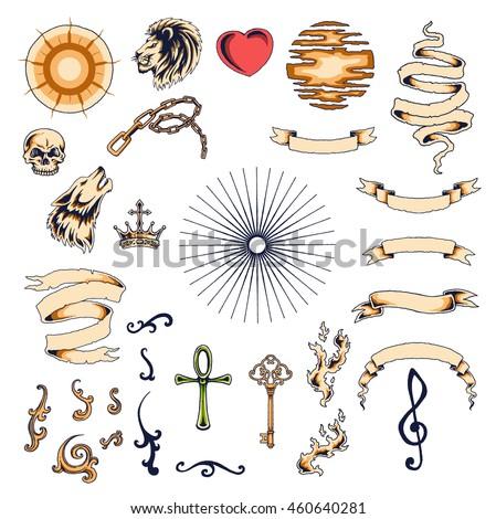 Set Vintage Tattoo Design Elements Vector Stock Vector Royalty Free