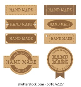 Set of vintage textured cardboard badges, tags and labels for hand made products, eps10 vector illustration isolated on white background
