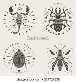 Set of vintage thin line insects labels & badges. Retro vector design graphic element, emblem, logo, insignia, sign, identity, logotype, poster. Stroke line objects with typographic.