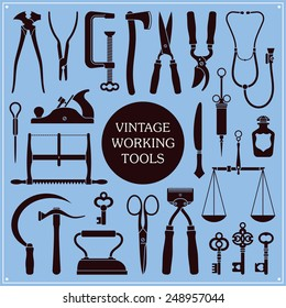 Set of vintage tools, instruments and equipment vector