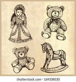 Set of vintage toys. Illustration for greeting cards, invitations, and other printing and web projects.