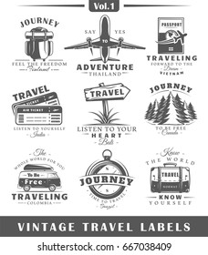 Set of vintage travel labels isolated on white background. Posters, stamps, banners and design elements. Vector illustration
