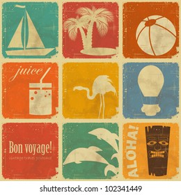 set of Vintage Travel Labels - Retro Signs with Grunge Effect - vector illustration