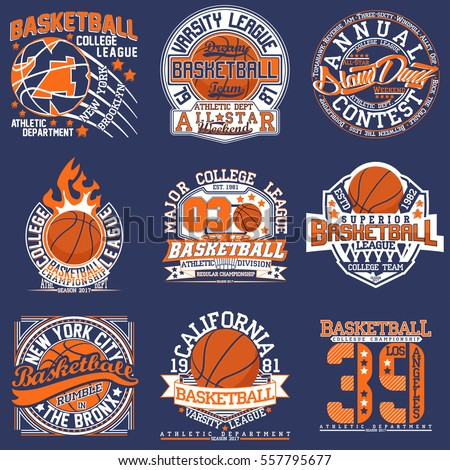 97a1aa8c5 Set of Vintage t-shirt graphic designs, Creative print stamps, basketball  typography emblems, sports logos, Vector - Vector
