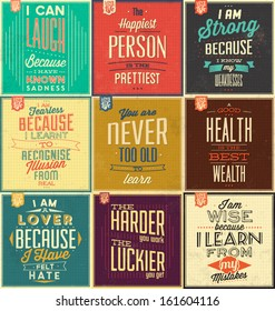 Set Of Vintage Typographic Backgrounds / Motivational Quotes / Retro Colors With Calligraphic Elements