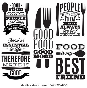 set of vintage typographic food quotes for the menu or t-shift with knife, spoon, fork