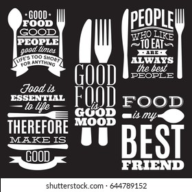 set of vintage typographic food quotes for the menu or t-shift with knife, spoon, fork.