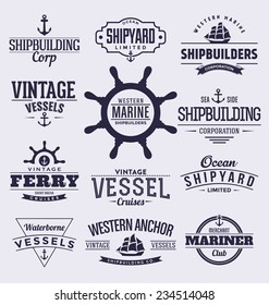Set Of Vintage Typographic Nautical Badges And Labels