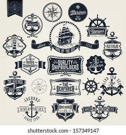 Set Of Vintage Typographical Retro Nautical Labels