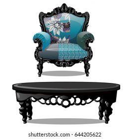 Set of vintage upholstered armchair with floral ornament and carved wooden round table. Furniture for interior vintage style isolated on white background. Vector cartoon close-up illustration.