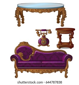 Set of vintage upholstered sofa with florid ornament, carved wooden round table and telephone. Furniture for interior vintage style isolated on white background. Vector cartoon close-up illustration.