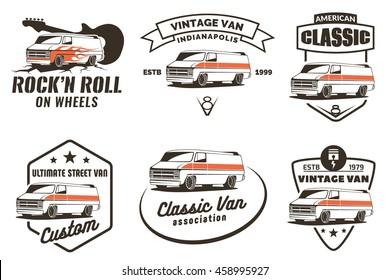 Set of vintage van emblems, logo and badges. Classic Van design elements.