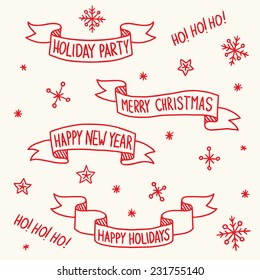 Set of vintage vector Christmas ribbons with snowflakes on background