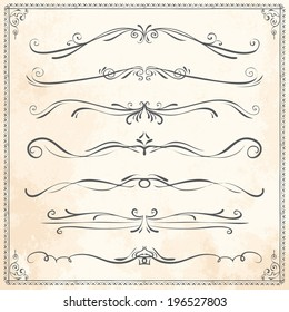 Set of vintage vector dividers, hand drawn