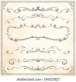 Set of vintage vector dividers, hand drawn