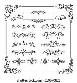 Set of vintage vector frame border divider corner. Calligraphic decorative elements
