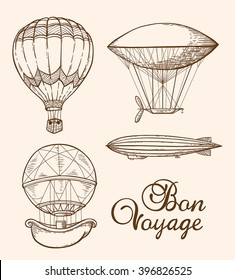 Set of vintage vector hand drawn air balloons