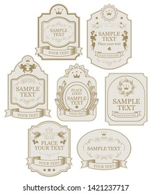 Set of vintage vector labels in beige and gold colors, with crowns, ribbons, angels, curls, spikelets, in figured frames