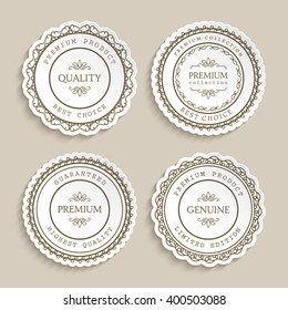 Set of vintage vector labels with ornamental border, badges, round stickers, cutout paper circle frames, esp10
