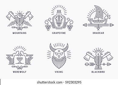 Set of vintage vector logo templates with ethnic elements in thin line style. Tribal style badges, scandinavian logotype. Monochrome, black on white