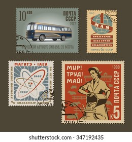 Set of vintage vector old-style soviet various thematic postage stamps. Retro design russian mark templates graphic collection. National characteristics and cultural symbols of communism and socialism