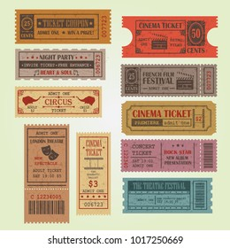 Set of vintage vector tickets and coupons template. Can be used for theatre, cinema, circus, film festival, party, ect.