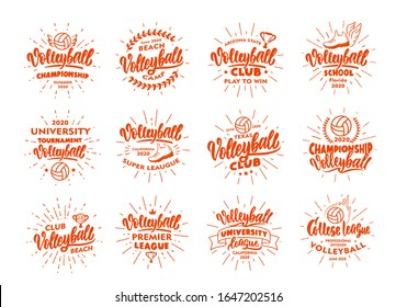 Set of vintage Volleyball emblems and stamps. Sport badges, templates and stickers for Volleyball club, school. Collection of retro logos with rays, hand-drawn text and phrases. Vector illustration