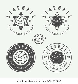Set of vintage volleyball labels, emblems and logo. Vector illustration. Graphic Art.