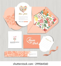 Set of vintage wedding cards invitations vector