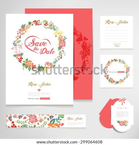 Set Vintage Wedding Cards Invitations Vector Stock Image