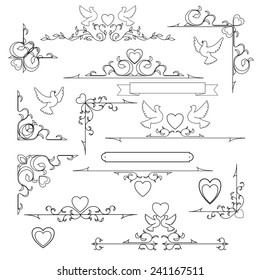 set of vintage wedding elements, vector illustration