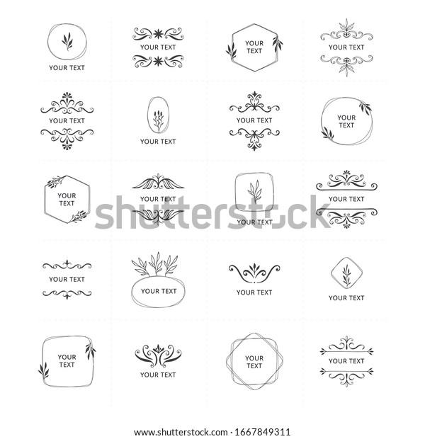 Set Vintage Wedding Monogram Frames Elegant Stock Vector Royalty Free 1667849311