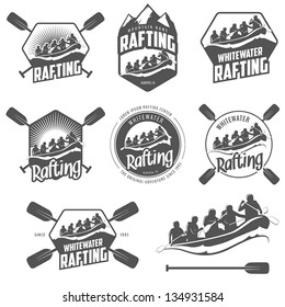Set of vintage whitewater rafting logo, labels and badges