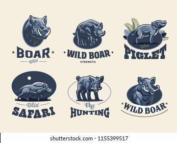 Set of vintage wild boar emblems. Vector illustration.