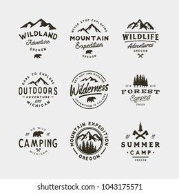 set of vintage wilderness logos. hand drawn retro styled outdoor adventure emblems, badges, design elements, logotype templates. vector illustration