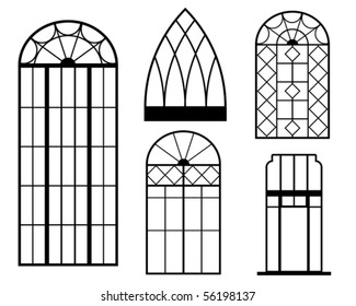 A set of vintage window silhouette