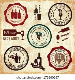 Set of vintage wine labels