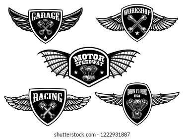 Set of vintage winged emblems. Racing, motorcycles, repair workshop. Design element for logo, label, sign, poster, t shirt. Vector illustration
